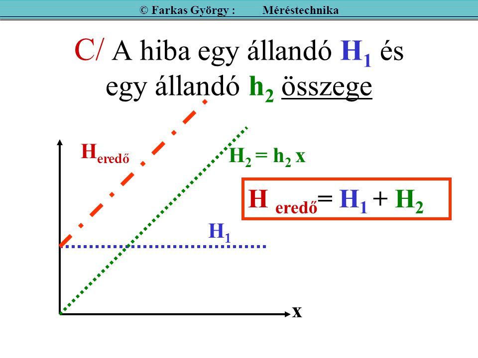 C/ A hiba egy állandó H 1 és egy állandó h 2 összege x H1H1 H eredő = H 1 + H 2 H 2 = h 2 x H eredő © Farkas György : Méréstechnika