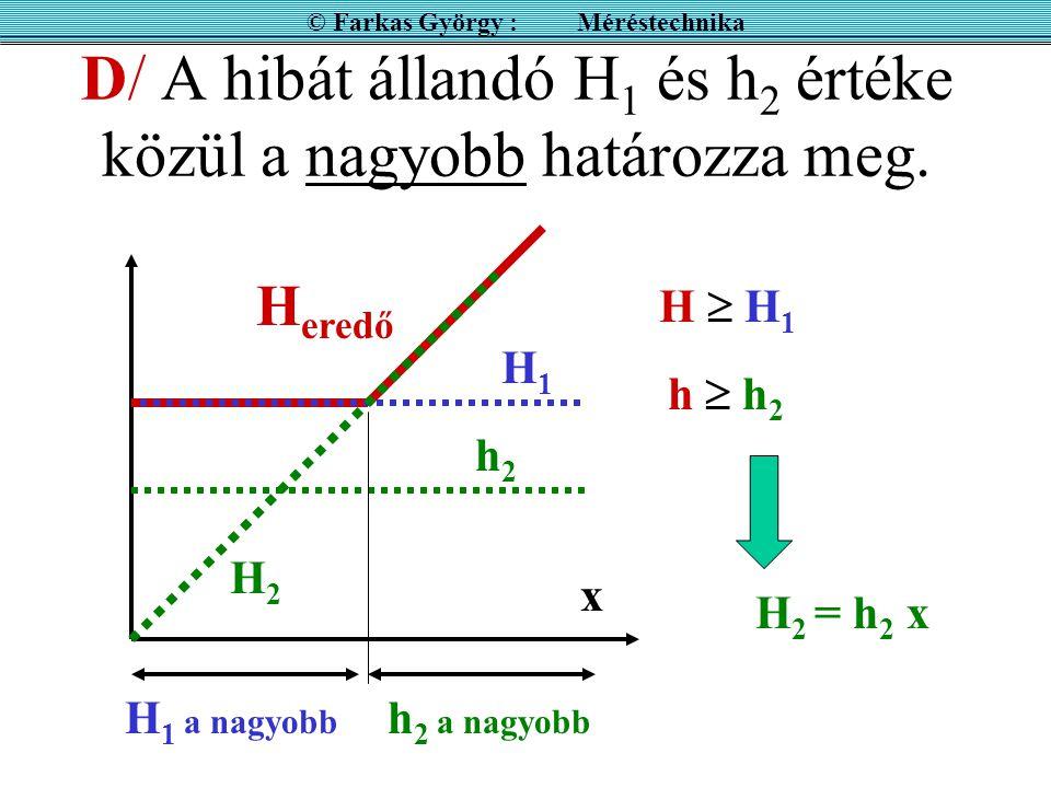 D/ A hibát állandó H 1 és h 2 értéke közül a nagyobb határozza meg.
