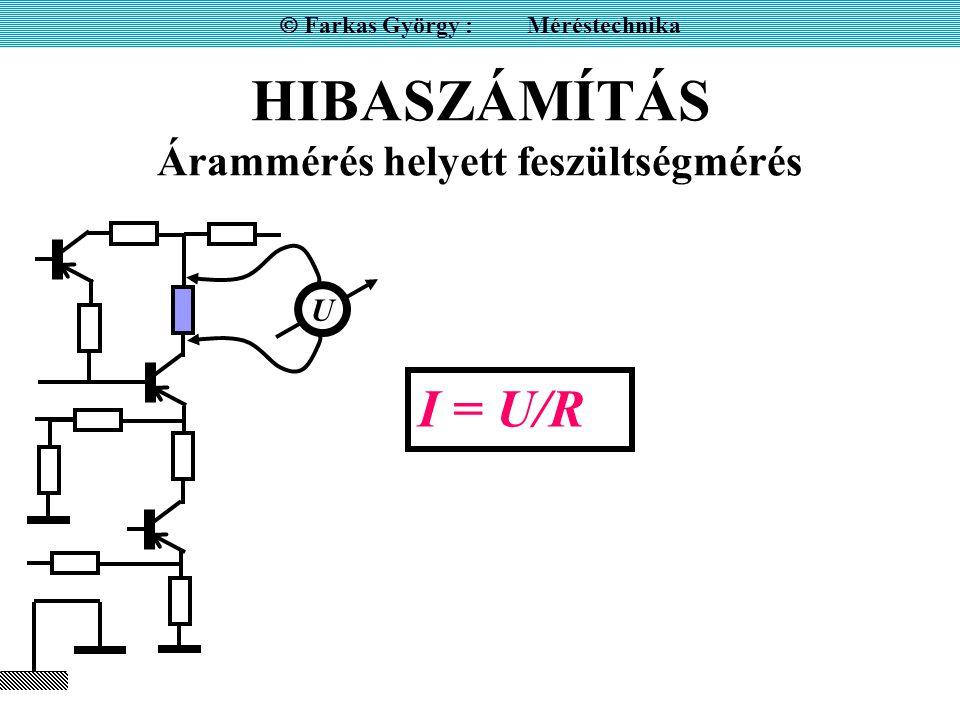HIBASZÁMÍTÁS Feszültségosztáson alapuló közvetlenül mutató ellenállásmérés hibája  Farkas György : Méréstechnika RNRN R U0U0 U0 –UU0 –U U U R = U0 –UU0 –U RNRN R = R N U U0 –UU0 –U U 0 ± h 0 R N ± h N R ± h = ?