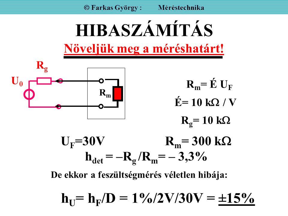 HIBASZÁMÍTÁS Feszültségosztáson alapuló közvetlenül mutató ellenállásmérés hibája  Farkas György : Méréstechnika R = R N U U0 –UU0 –U R ± h = .
