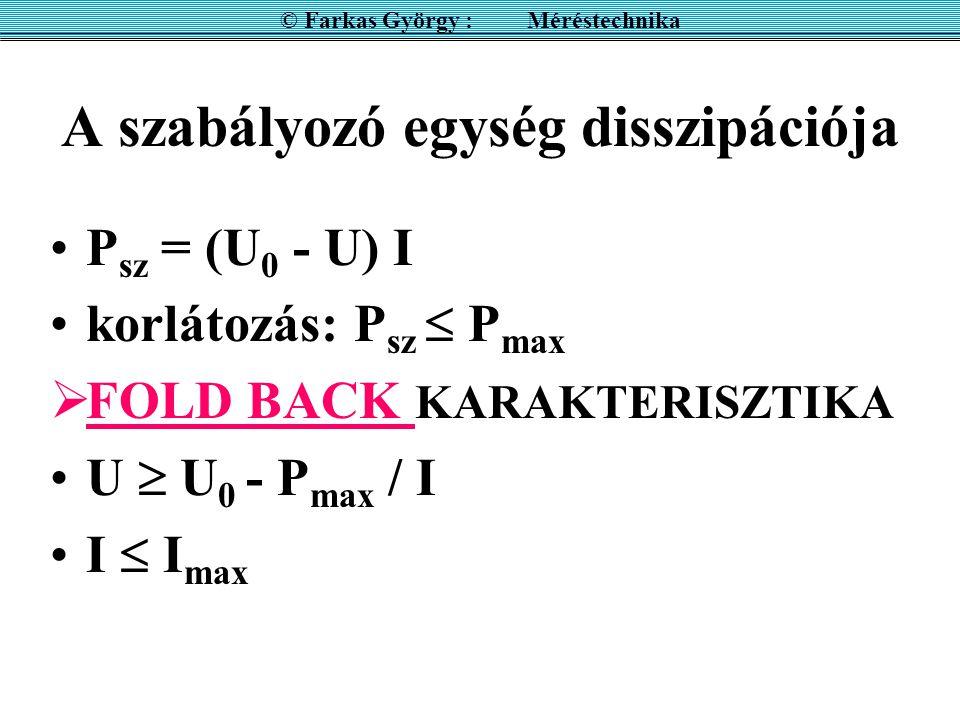 A szabályozó egység disszipációja P sz = (U 0 - U) I korlátozás: P sz  P max  FOLD BACK KARAKTERISZTIKA U  U 0 - P max / I I  I max © Farkas Györg