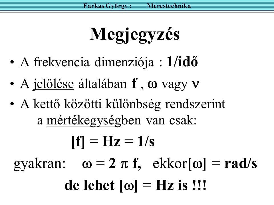 Megjegyzés A frekvencia dimenziója : 1/idő A jelölése általában f,  vagy A kettő közötti különbség rendszerint a mértékegységben van csak: [f] = Hz = 1/s gyakran:  = 2  f, ekkor[  ] = rad/s de lehet [  ] = Hz is !!.