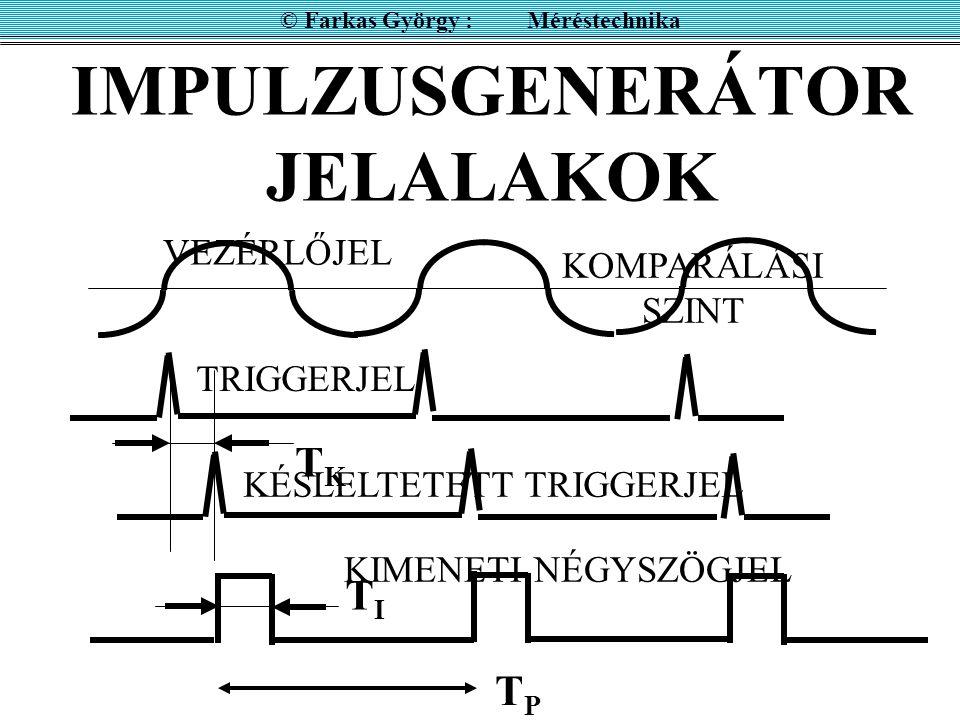 IMPULZUSGENERÁTOR JELALAKOK © Farkas György : Méréstechnika TPTP TKTK TITI VEZÉRLŐJEL TRIGGERJEL KÉSLELTETETT TRIGGERJEL KIMENETI NÉGYSZÖGJEL KOMPARÁL