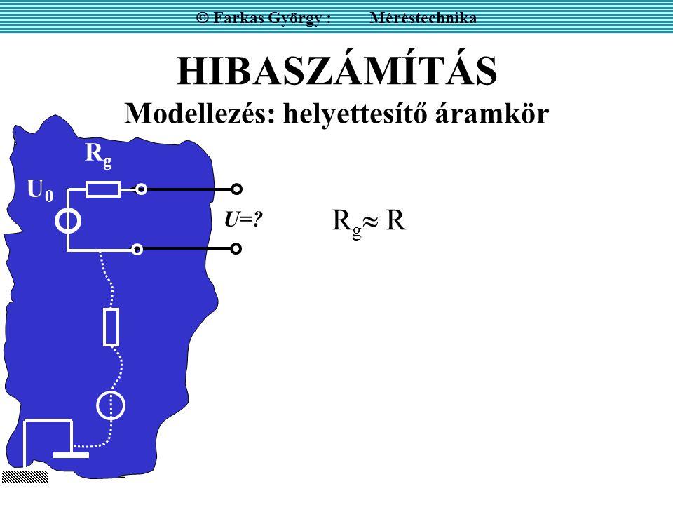 HIBASZÁMÍTÁS Modellezés: helyettesítő áramkör  Farkas György : Méréstechnika U=? U0U0 RgRg R g  R