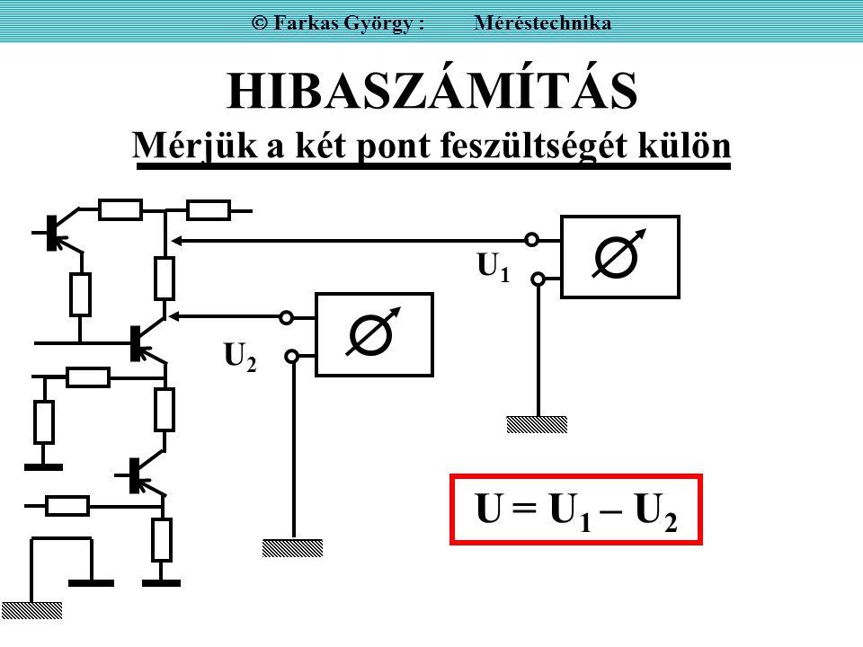 HIBASZÁMÍTÁS Mérjük a két pont feszültségét külön  Farkas György : Méréstechnika U1U1 U2U2 U = U 1 – U 2