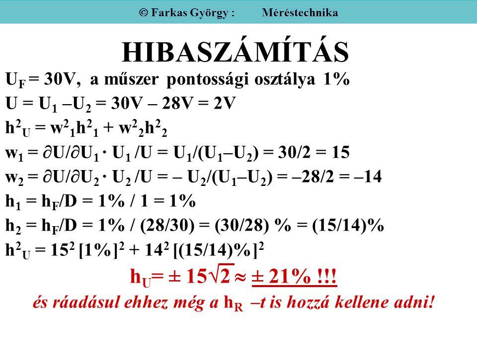 HIBASZÁMÍTÁS U F = 30V, a műszer pontossági osztálya 1% U = U 1 –U 2 = 30V – 28V = 2V h 2 U = w 2 1 h 2 1 + w 2 2 h 2 2 w 1 =  U/  U 1 · U 1 /U = U 1 /(U 1 –U 2 ) = 30/2 = 15 w 2 =  U/  U 2 · U 2 /U = – U 2 /(U 1 –U 2 ) = –28/2 = –14 h 1 = h F /D = 1% / 1 = 1% h 2 = h F /D = 1% / (28/30) = (30/28) % = (15/14)% h 2 U = 15 2 [1%] 2 + 14 2 [(15/14)%] 2 h U = ± 15  2  ± 21% !!.