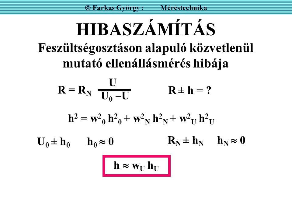 HIBASZÁMÍTÁS Feszültségosztáson alapuló közvetlenül mutató ellenállásmérés hibája  Farkas György : Méréstechnika R = R N U U0 –UU0 –U U 0 ± h 0 h 0  0 R N ± h N h N  0 R ± h = .