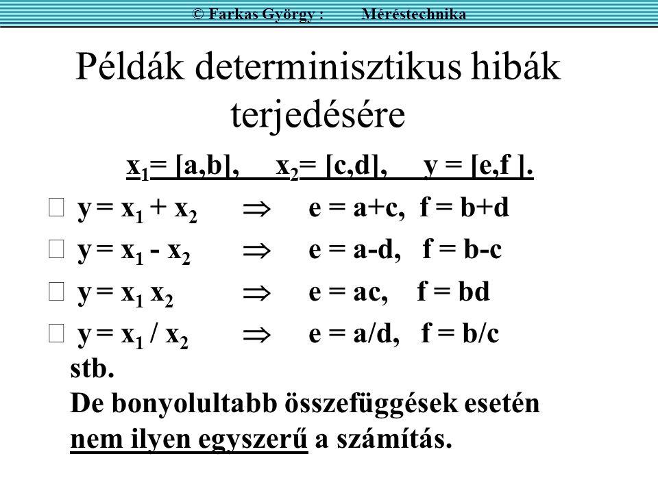 Példák determinisztikus hibák terjedésére x 1 = [a,b], x 2 = [c,d], y = [e,f ].