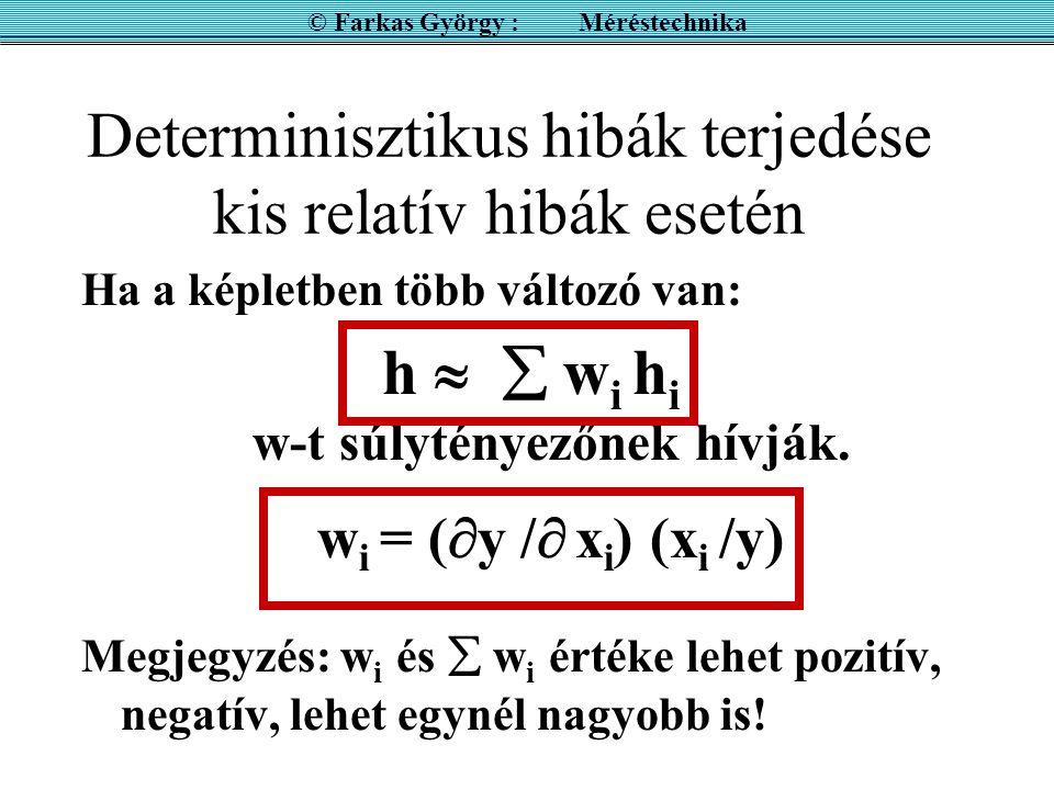 Determinisztikus hibák terjedése kis relatív hibák esetén Ha a képletben több változó van: h   w i h i w-t súlytényezőnek hívják.