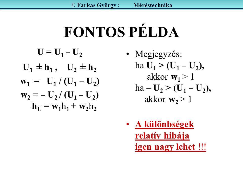 FONTOS PÉLDA U = U 1  U 2 U 1 ± h 1, U 2 ± h 2 w 1 = U 1 / (U 1  U 2 ) w 2 =  U 2 / (U 1  U 2 ) h U = w 1 h 1 + w 2 h 2 Megjegyzés: ha U 1 > (U 1  U 2 ), akkor w 1 > 1 ha  U 2 > (U 1  U 2 ), akkor w 2 > 1 A különbségek relatív hibája igen nagy lehet !!.