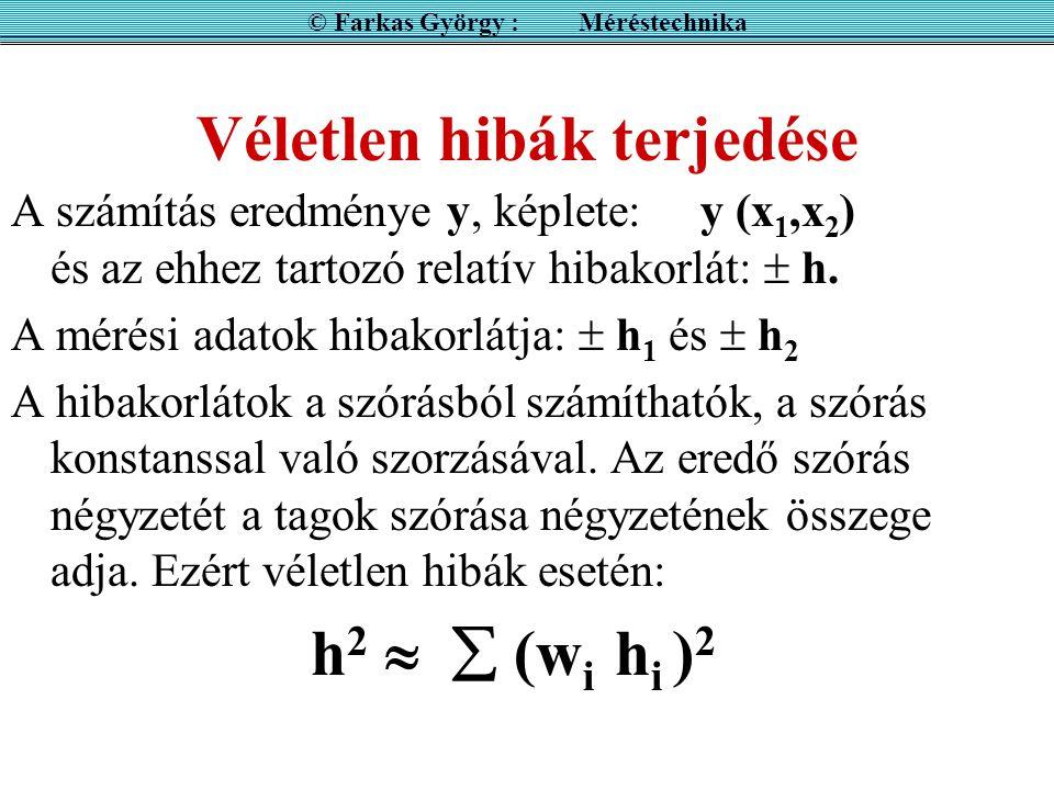 Véletlen hibák terjedése A számítás eredménye y, képlete: y (x 1,x 2 ) és az ehhez tartozó relatív hibakorlát:  h.