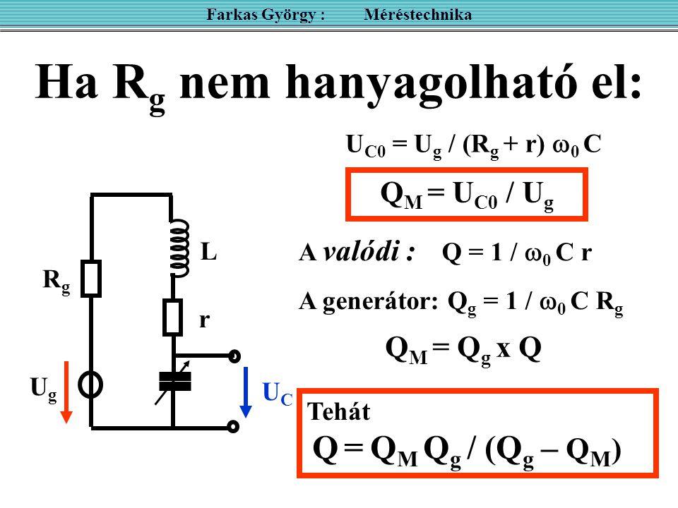Ha R g nem hanyagolható el: Farkas György : Méréstechnika UgUg RgRg UCUC r L U C0 = U g / (R g + r)  0 C Q M = U C0 / U g A valódi : Q = 1 /  0 C r