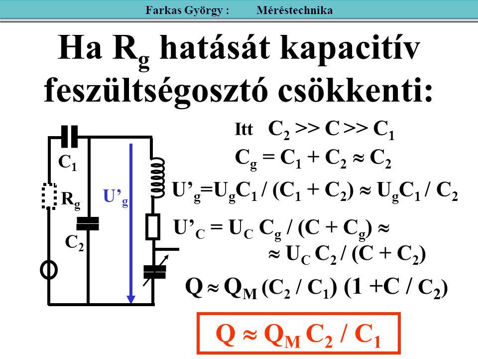 Ha R g hatását kapacitív feszültségosztó csökkenti: Farkas György : Méréstechnika RgRg U' g Q  Q M (C 2 / C 1 ) (1 +C / C 2 ) U' C = U C C g / (C + C
