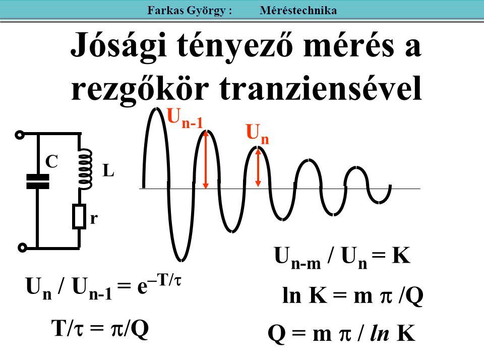 Jósági tényező mérés a rezgőkör tranziensével Farkas György : Méréstechnika C L r U n / U n-1 = e –T/  T/  =  /Q U n-m / U n = K ln K = m  /Q Q =
