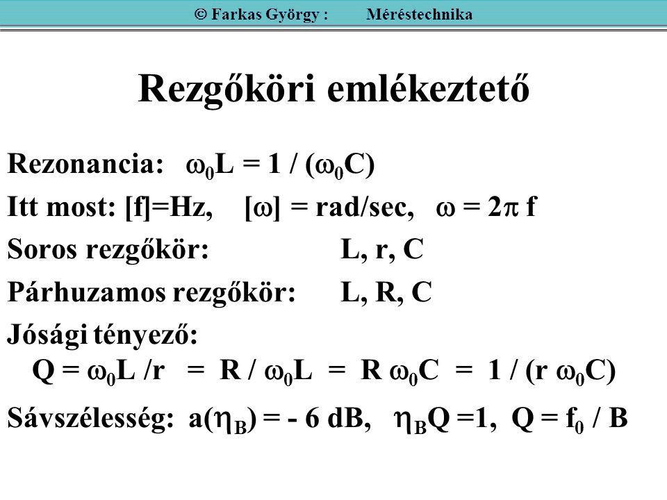 Rezgőköri emlékeztető Rezonancia:  0 L = 1 / (  0 C) Itt most: [f]=Hz, [  ] = rad/sec,  = 2  f Soros rezgőkör: L, r, C Párhuzamos rezgőkör:L, R,