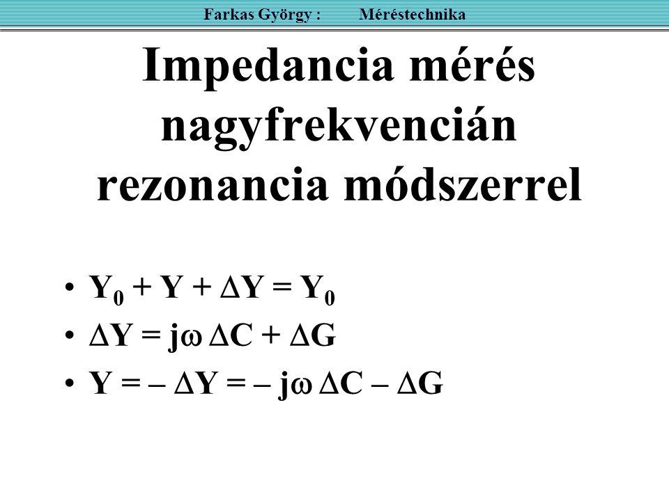 Impedancia mérés nagyfrekvencián rezonancia módszerrel Y 0 + Y +  Y = Y 0  Y = j   C +  G Y = –  Y = – j   C –  G Farkas György : Méréstechni