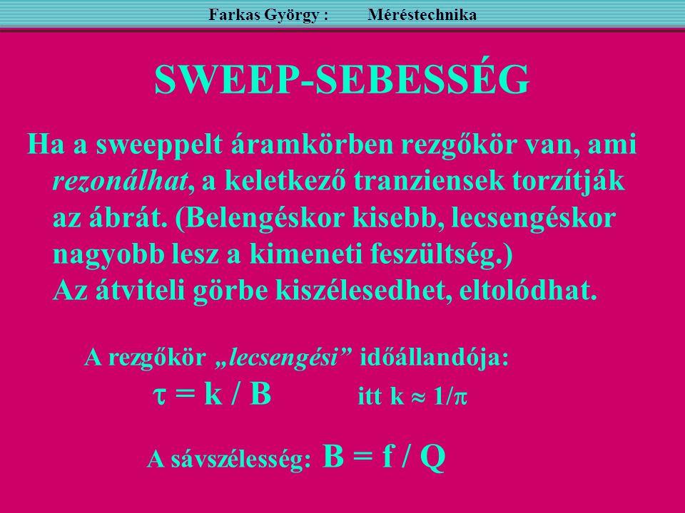 SWEEP-SEBESSÉG Ha a sweeppelt áramkörben rezgőkör van, ami rezonálhat, a keletkező tranziensek torzítják az ábrát.