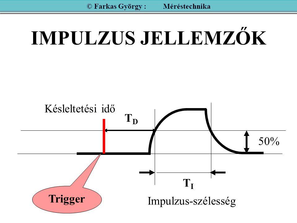 IMPULZUS JELLEMZŐK © Farkas György : Méréstechnika 50% Késleltetési idő TITI TDTD Impulzus-szélesség Trigger