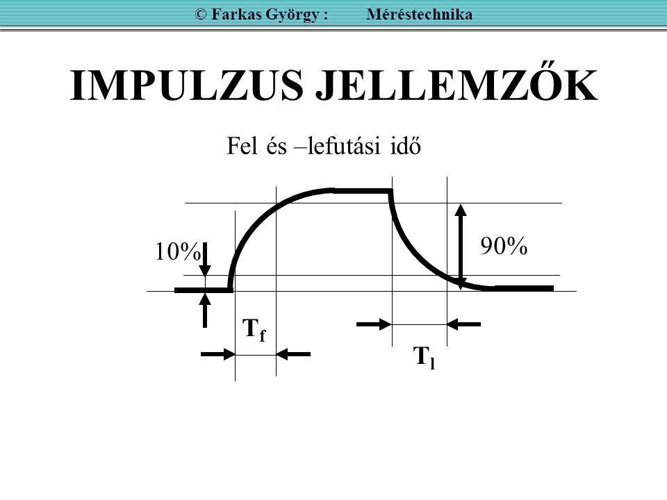 IMPULZUS JELLEMZŐK © Farkas György : Méréstechnika 10% 90% Fel és –lefutási idő TfTf TlTl