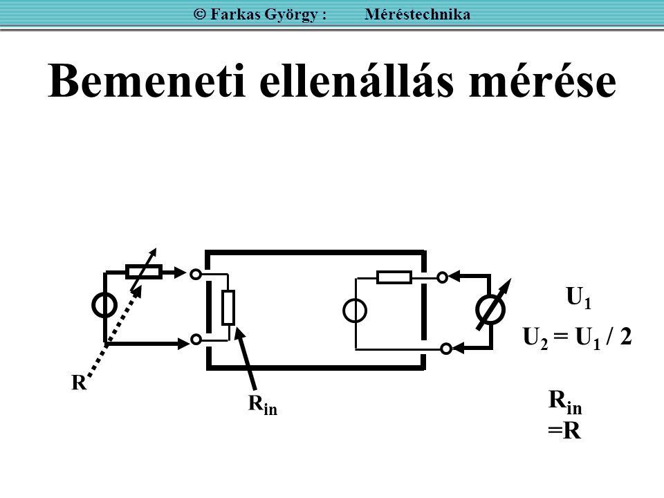 Bemeneti ellenállás mérése  Farkas György : Méréstechnika R in R U 2 = U 1 / 2 R in =R U1U1