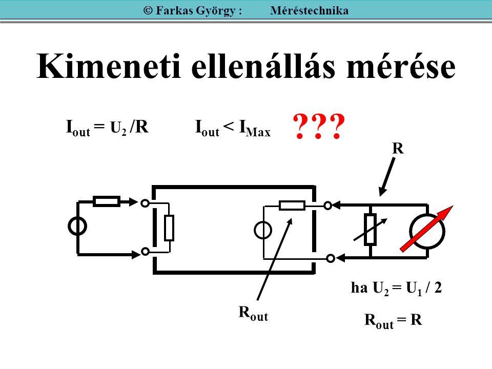  Farkas György : Méréstechnika R out ha U 2 = U 1 / 2 R out = R R I out = U 2 /RI out < I Max ???