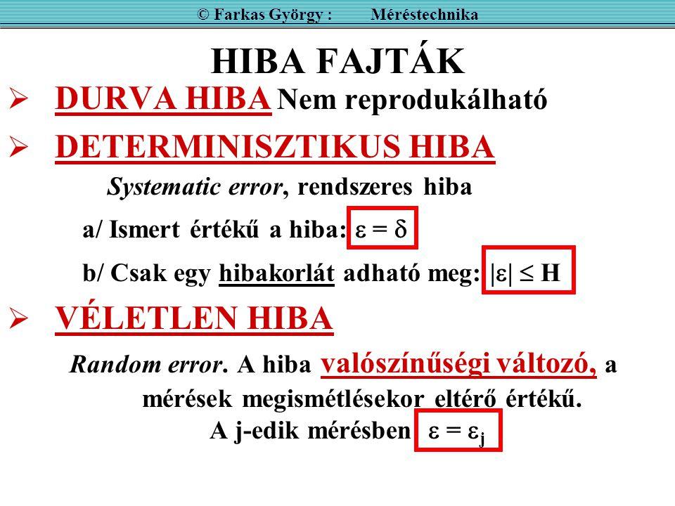 HIBA FAJTÁK  DURVA HIBA Nem reprodukálható  DETERMINISZTIKUS HIBA Systematic error, rendszeres hiba a/ Ismert értékű a hiba:  =  b/ Csak egy hibak