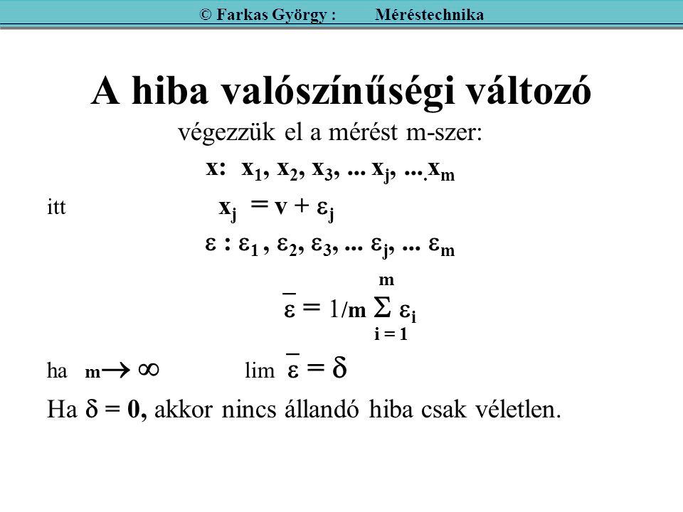 A hiba valószínűségi változó végezzük el a mérést m-szer: x: x 1, x 2, x 3,... x j,.... x m itt x j = v +  j  :  1,  2,  3,...  j,...  m m  =