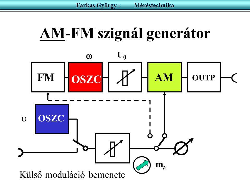 AM-FM szignál generátor Farkas György : Méréstechnika OSZC FMAM OUTP   U0U0 OSZC Külső moduláció bemenete mama