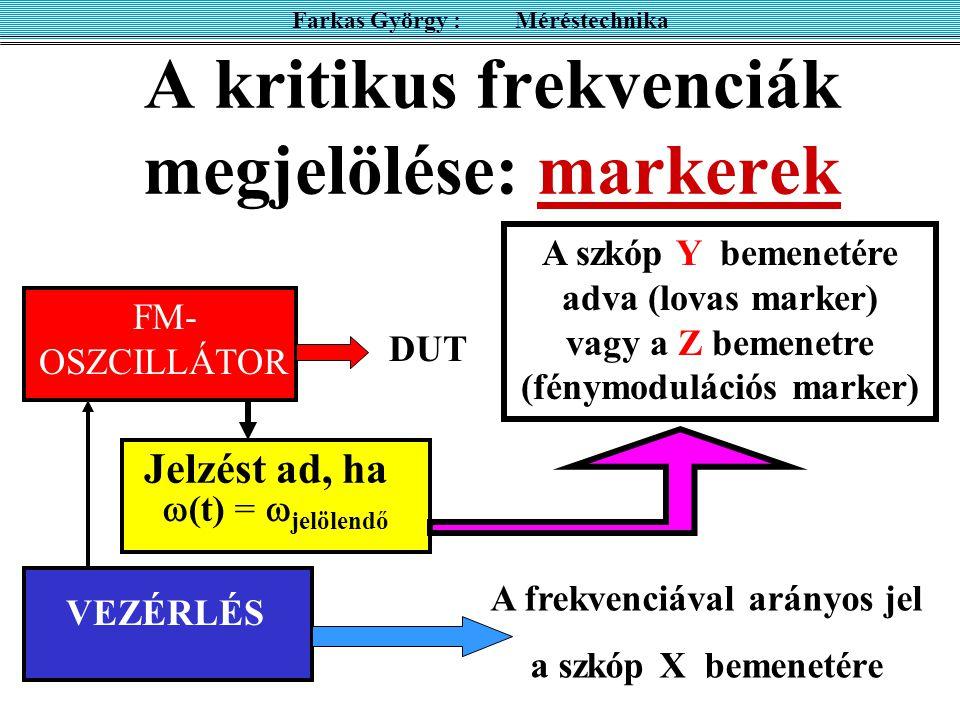 A kritikus frekvenciák megjelölése: markerek OSZC VEZÉRLÉS A frekvenciával arányos jel a szkóp X bemenetére Farkas György : Méréstechnika  (t) =  jelölendő Jelzést ad, ha A szkóp Y bemenetére adva (lovas marker) vagy a Z bemenetre (fénymodulációs marker) FM- OSZCILLÁTOR DUT