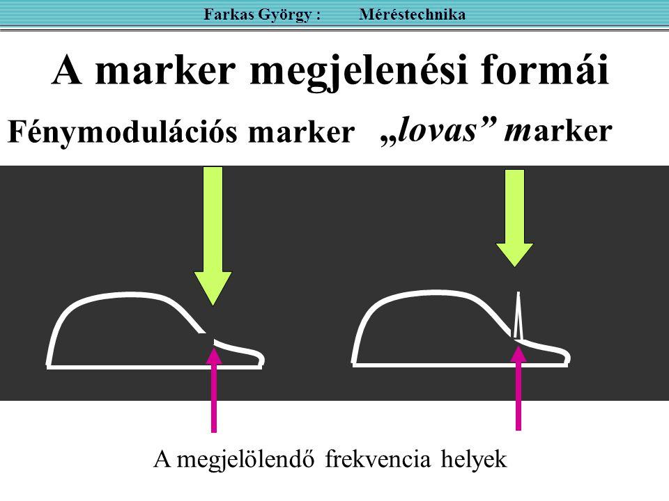 """A marker megjelenési formái Farkas György : Méréstechnika Fénymodulációs marker """"lovas"""" m arker A megjelölendő frekvencia helyek"""