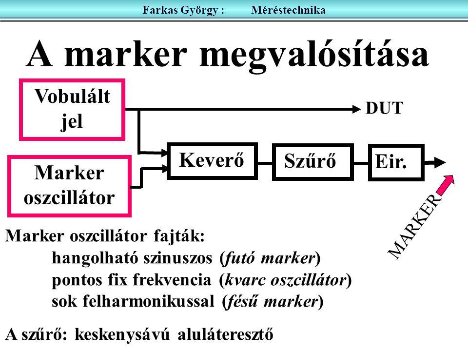 A marker megvalósítása Farkas György : Méréstechnika Marker oszcillátor fajták: hangolható szinuszos (futó marker) pontos fix frekvencia (kvarc oszcillátor) sok felharmonikussal (fésű marker) A szűrő: keskenysávú aluláteresztő MARKER Keverő Szűrő Eir.