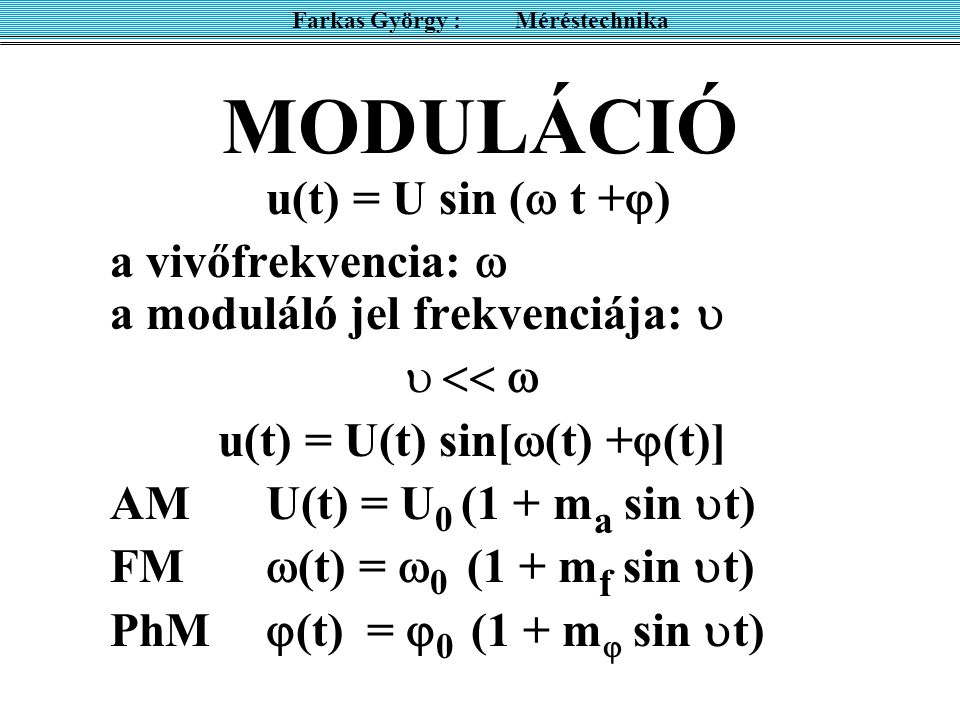 MODULÁCIÓ u(t) = U sin (  t +  ) a vivőfrekvencia:  a moduláló jel frekvenciája:    u(t) = U(t) sin[  (t) +  (t)] AMU(t) = U 0 (1 + m a sin