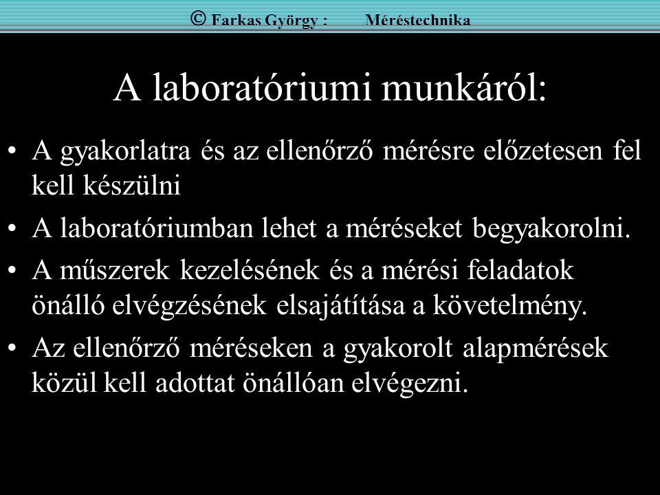A laboratóriumi munkáról: A gyakorlatra és az ellenőrző mérésre előzetesen fel kell készülni A laboratóriumban lehet a méréseket begyakorolni. A műsze
