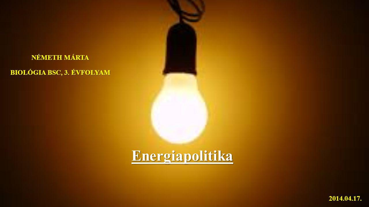NÉMETH MÁRTA BIOLÓGIA BSC, 3. ÉVFOLYAM Energiapolitika 2014.04.17.