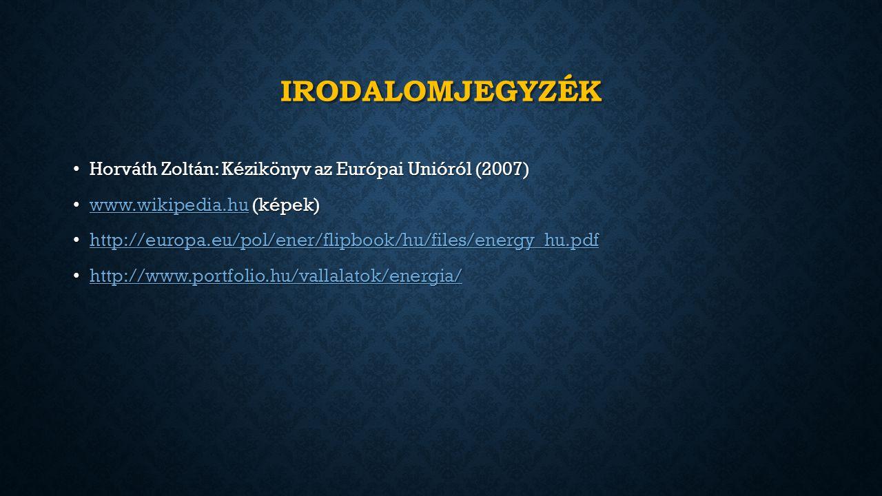 IRODALOMJEGYZÉK Horváth Zoltán: Kézikönyv az Európai Unióról (2007) Horváth Zoltán: Kézikönyv az Európai Unióról (2007) www.wikipedia.hu (képek) www.wikipedia.hu (képek) www.wikipedia.hu http://europa.eu/pol/ener/flipbook/hu/files/energy_hu.pdf http://europa.eu/pol/ener/flipbook/hu/files/energy_hu.pdf http://europa.eu/pol/ener/flipbook/hu/files/energy_hu.pdf http://www.portfolio.hu/vallalatok/energia/ http://www.portfolio.hu/vallalatok/energia/ http://www.portfolio.hu/vallalatok/energia/