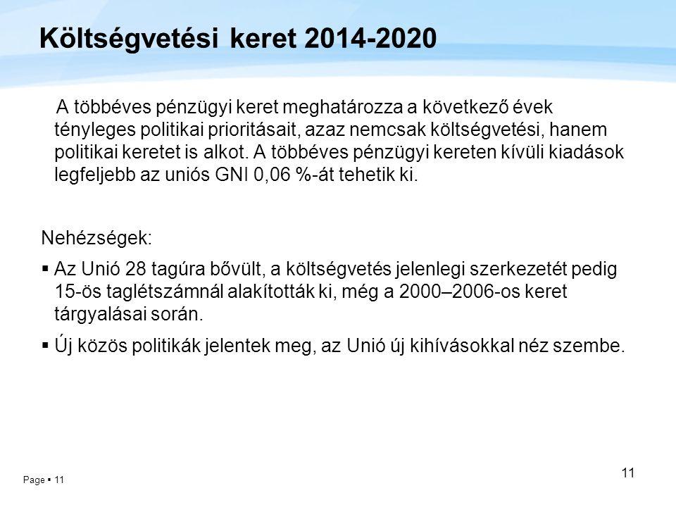 Page  11 11 Költségvetési keret 2014-2020 A többéves pénzügyi keret meghatározza a következő évek tényleges politikai prioritásait, azaz nemcsak költ