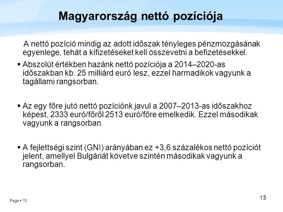 Page  13 13 Magyarország nettó pozíciója A nettó pozíció mindig az adott időszak tényleges pénzmozgásának egyenlege, tehát a kifizetéseket kell össze