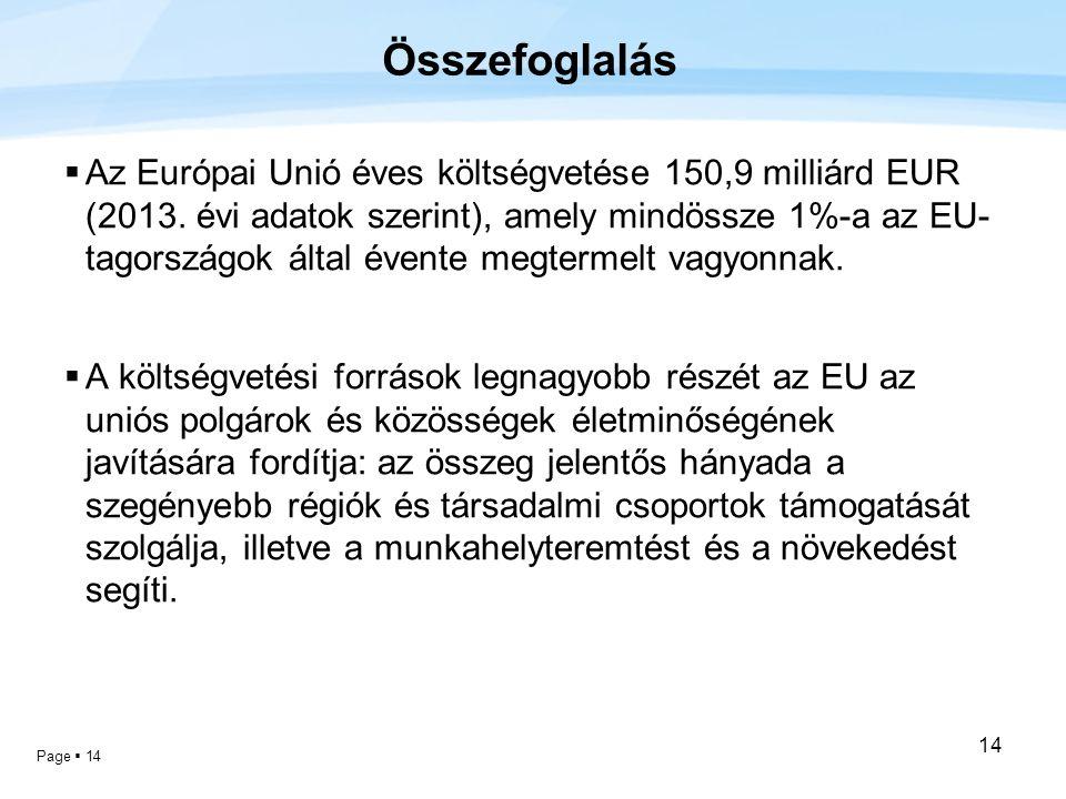 Page  14 14 Összefoglalás  Az Európai Unió éves költségvetése 150,9 milliárd EUR (2013. évi adatok szerint), amely mindössze 1%-a az EU- tagországok