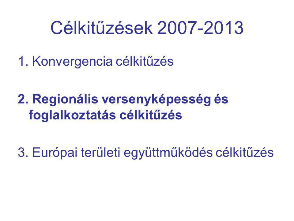 Célkitűzések 2007-2013 1. Konvergencia célkitűzés 2.