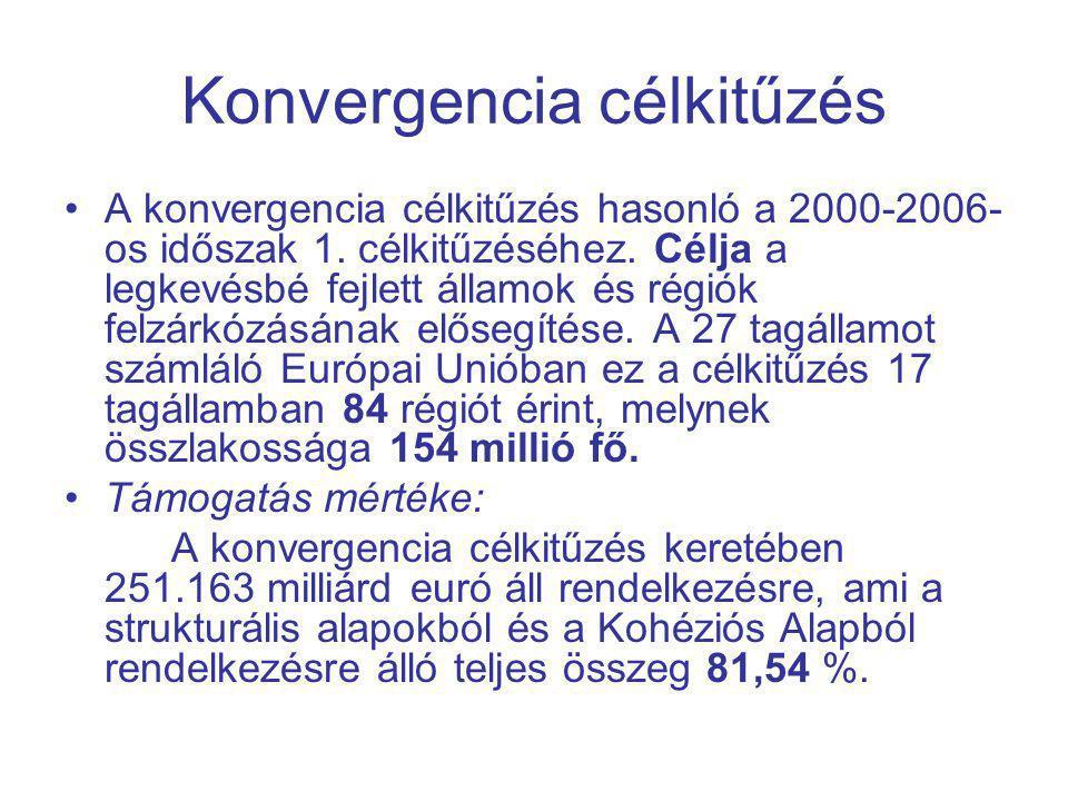 Konvergencia célkitűzés A konvergencia célkitűzés hasonló a 2000-2006- os időszak 1.
