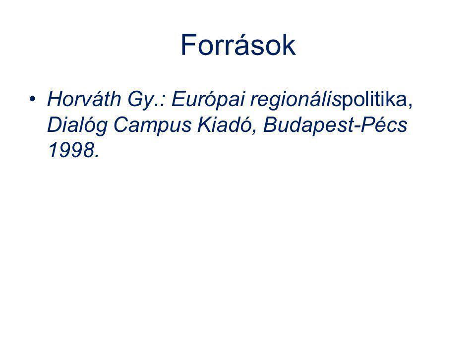 Források Horváth Gy.: Európai regionálispolitika, Dialóg Campus Kiadó, Budapest-Pécs 1998.