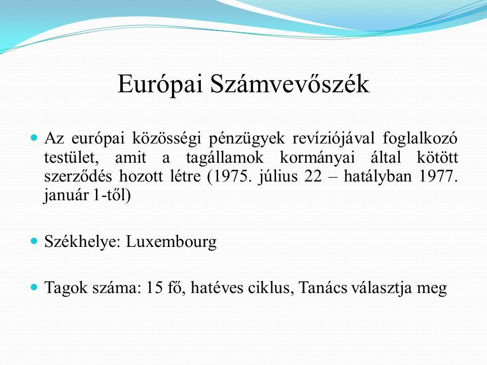 Európai Számvevőszék Az európai közösségi pénzügyek revíziójával foglalkozó testület, amit a tagállamok kormányai által kötött szerződés hozott létre