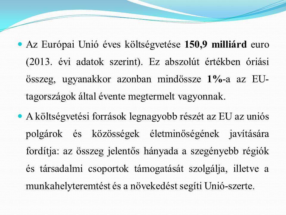 Az Európai Unió éves költségvetése 150,9 milliárd euro (2013. évi adatok szerint). Ez abszolút értékben óriási összeg, ugyanakkor azonban mindössze 1%