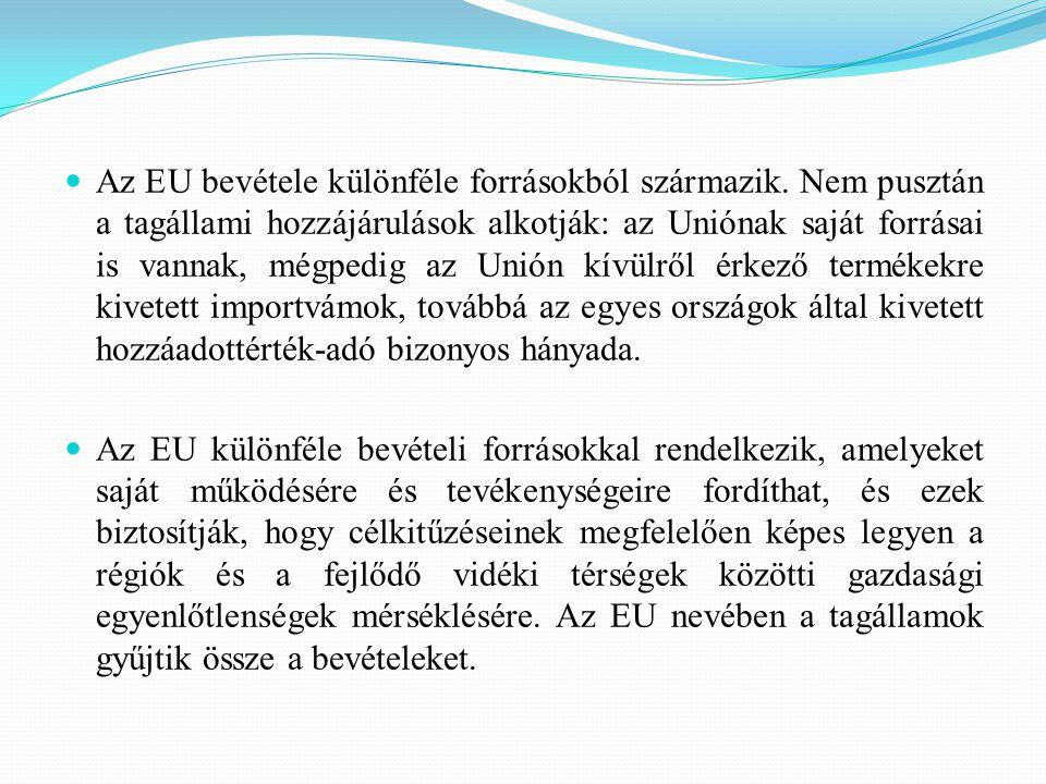 A három fő jövedelemforrás a következő: valamennyi ország bruttó nemzeti jövedelmének 0,73%-a, ami az EU költségvetésének kétharmadát teszi ki.