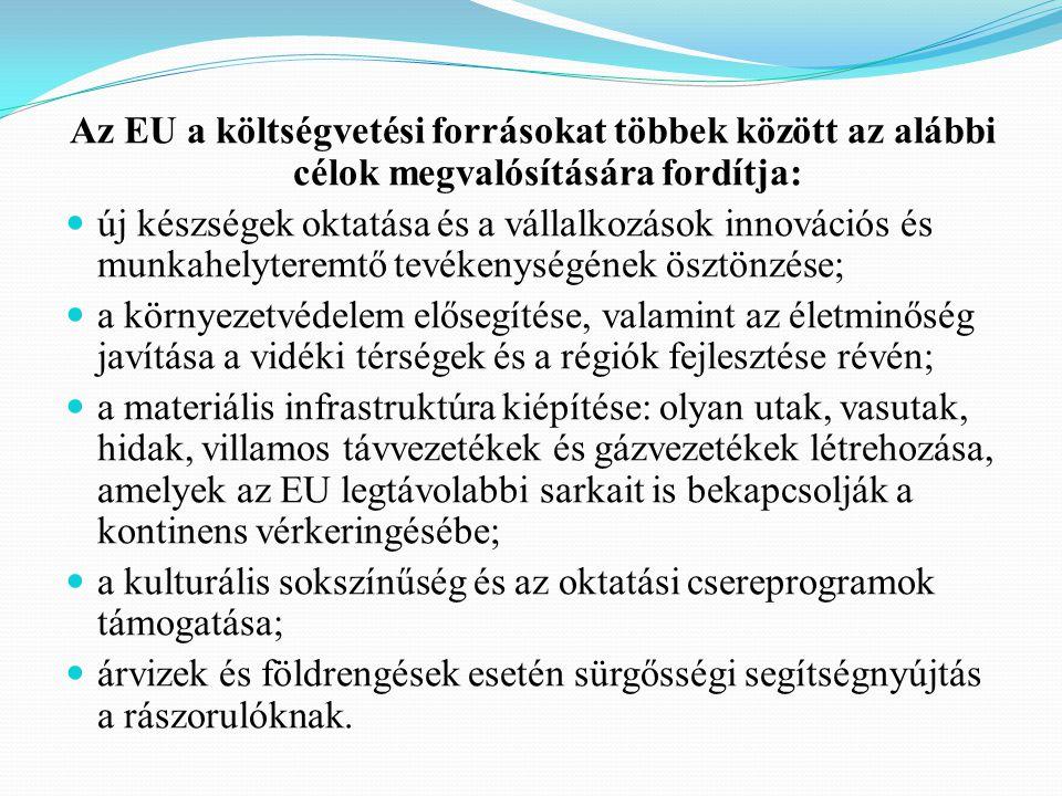Az EU a költségvetési forrásokat többek között az alábbi célok megvalósítására fordítja: új készségek oktatása és a vállalkozások innovációs és munkahelyteremtő tevékenységének ösztönzése; a környezetvédelem elősegítése, valamint az életminőség javítása a vidéki térségek és a régiók fejlesztése révén; a materiális infrastruktúra kiépítése: olyan utak, vasutak, hidak, villamos távvezetékek és gázvezetékek létrehozása, amelyek az EU legtávolabbi sarkait is bekapcsolják a kontinens vérkeringésébe; a kulturális sokszínűség és az oktatási csereprogramok támogatása; árvizek és földrengések esetén sürgősségi segítségnyújtás a rászorulóknak.
