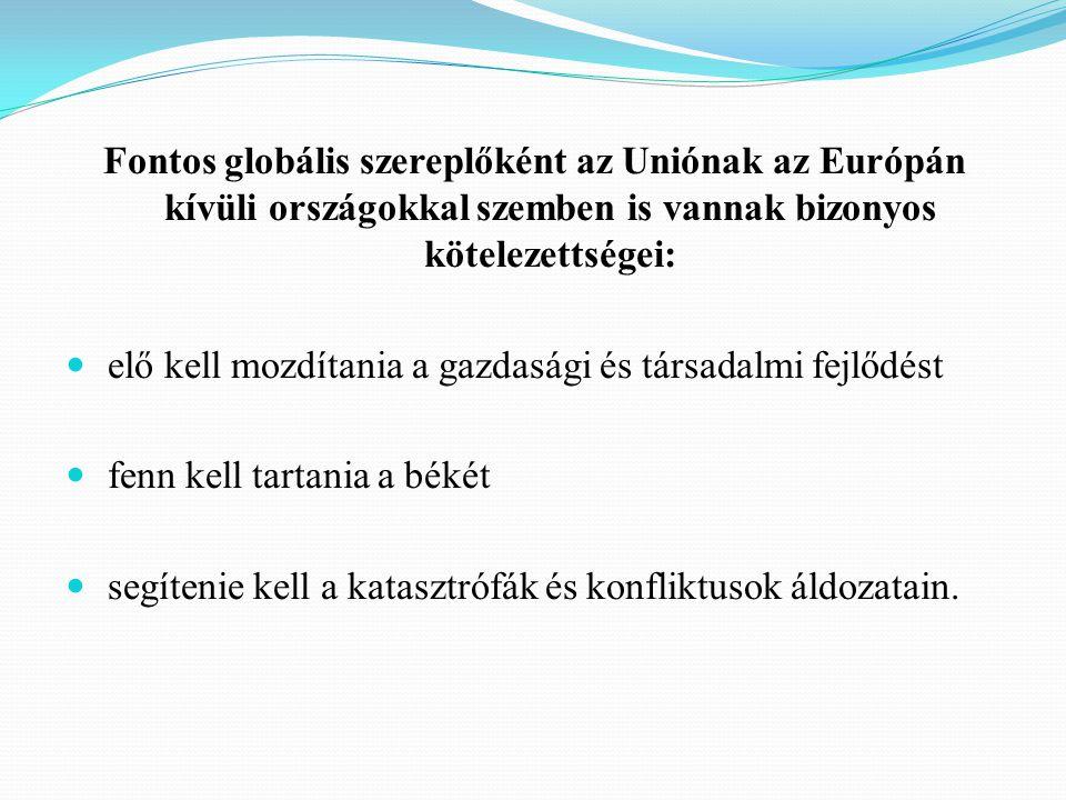Az EU különösen tevékeny szerepet játszik az alábbi három országcsoport életében: azok a fejlődő országok, amelyekhez egyes uniós országokat szoros történelmi szálak fűznek, különösen Afrikában, valamint a karibi és a csendes-óceáni régióban az EU keleti határai és a Földközi-tenger mentén fekvő feltörekvő gazdaságok az Európai Unióhoz csatlakozni kívánó országok