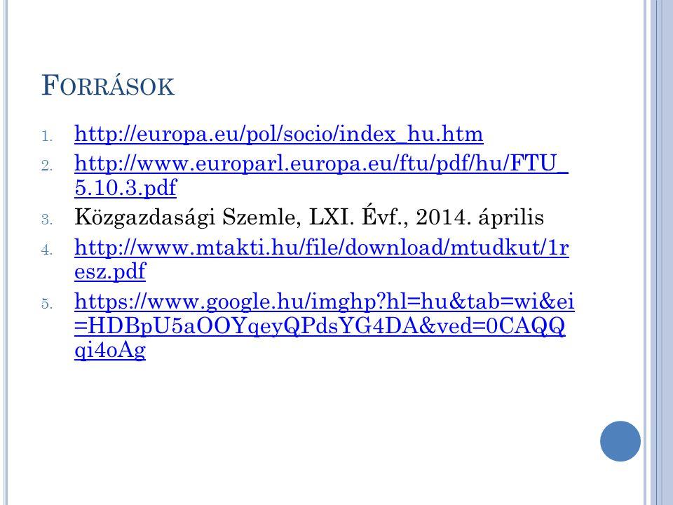 F ORRÁSOK 1.http://europa.eu/pol/socio/index_hu.htm http://europa.eu/pol/socio/index_hu.htm 2.