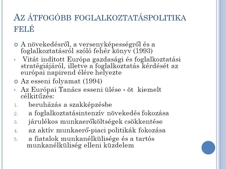 A Z ÁTFOGÓBB FOGLALKOZTATÁSPOLITIKA FELÉ A növekedésről, a versenyképességről és a foglalkoztatásról szóló fehér könyv (1993) Vitát indított Európa gazdasági és foglalkoztatási stratégiájáról, illetve a foglalkoztatás kérdését az európai napirend élére helyezte Az esseni folyamat (1994) Az Európai Tanács esseni ülése - öt kiemelt célkitűzés: 1.