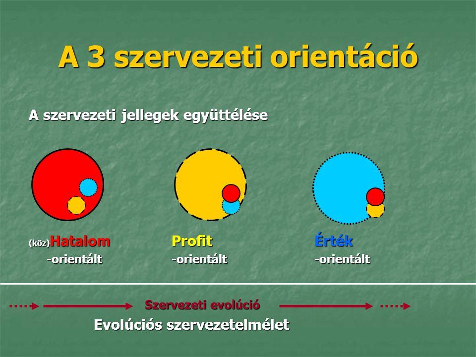 A 3 szervezeti orientáció A szervezeti jellegek együttélése (köz) Hatalom ProfitÉrték -orientált -orientált -orientált Szervezeti evolúció Szervezeti