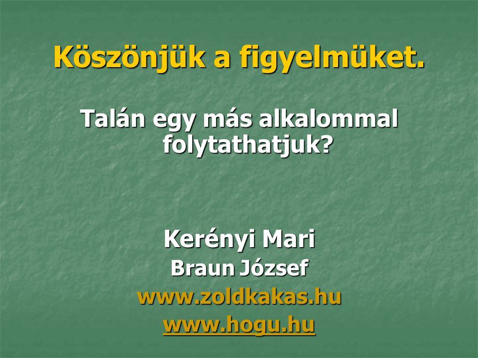 Köszönjük a figyelmüket. Talán egy más alkalommal folytathatjuk? Kerényi Mari Braun József www.zoldkakas.hu www.hogu.hu